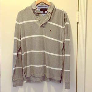 Tommy Hilfiger Gray Striped Long Sleeve Polo Small